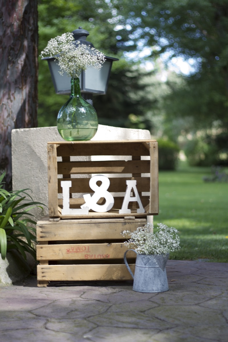 Decoracion bodas madrid fincas las rozas cajas madera - Decoracion entradas ...